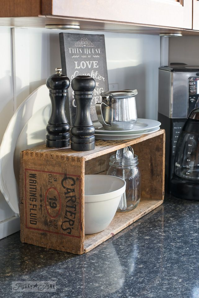 vintage crate coffee station in a rustic kitchen in black and wood tones / funkjunkinteriors.net