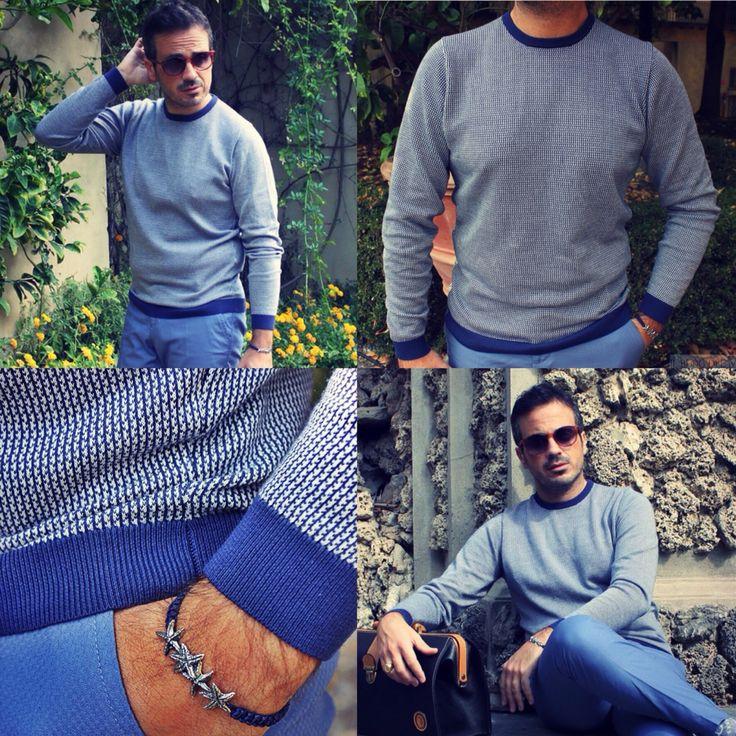"""Autumn comes with #alphastudio light blue """"pied de poule"""" fancy pattern sweater!     #fw15 #florence #menswear #style #stylish #outfitoftheday #pieddepoule #knitwear #september #glamour #mensfashion #fashion #menstyle #details #fancy #color #gauge #yarn #sweater"""
