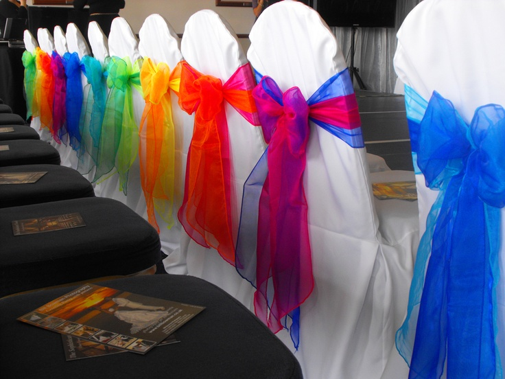 Mixed Double Rainbow Colours Organza Bows on White Chair Covers