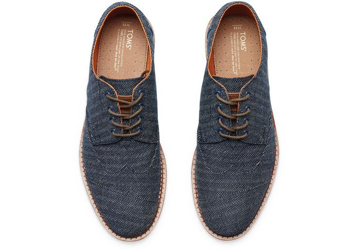 Have him wear something blue on your #wedding day. May we suggest these Navy Denim Herringbone Men's Brogues by #TOMS- perfect for the BIG day! #TOMSwedding