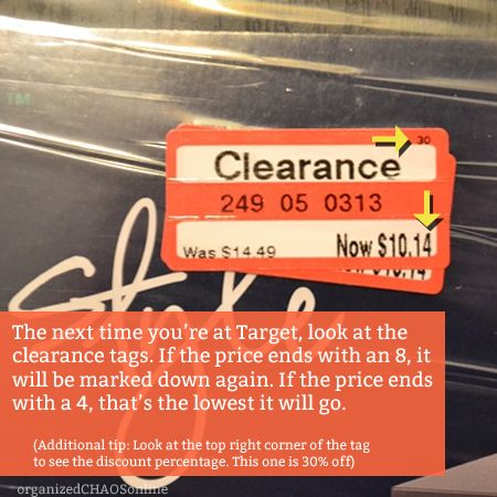 How to read the Target Clearance tags   TIP OF THE DAY on organizedCHAOSonline