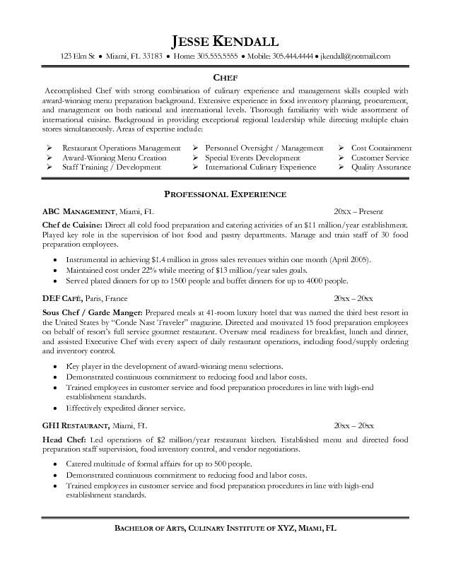 Good Chef Resume Examples Resume is needed by almost job title - functional skills resume