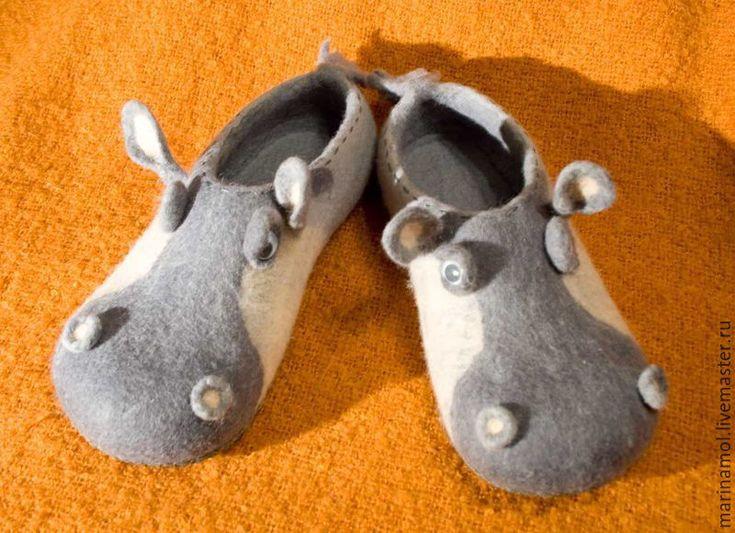 """Купить Валяные тапочки """"Бегемоты"""" - серый, валяные тапочки, тапочки из шерсти, тапочки из войлока"""