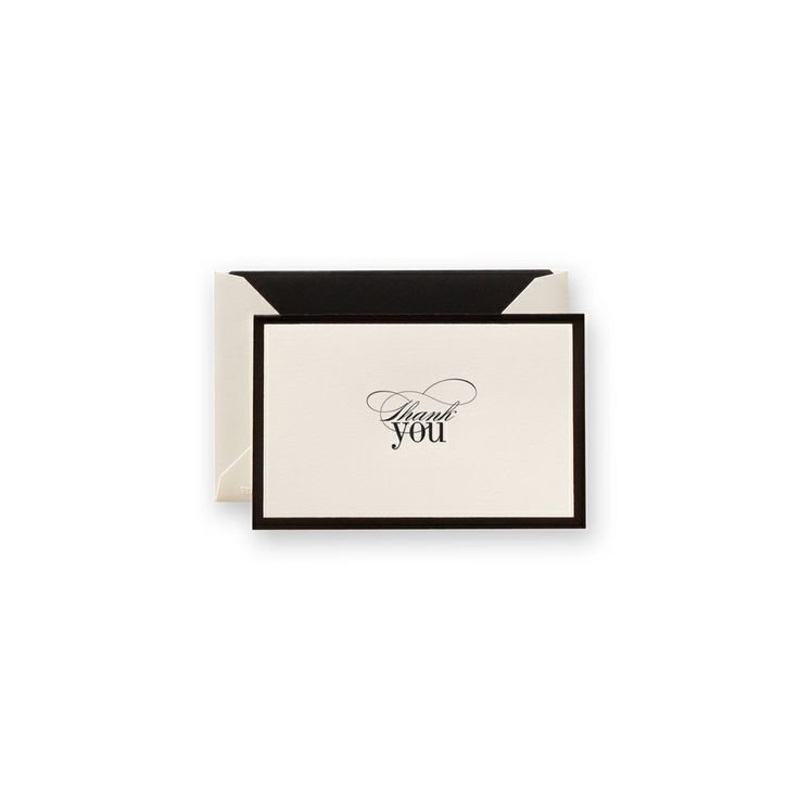 Engraved Black Border Thank You Note: Simply sophisticated, a black foil border works with a type both romantic and modern to make this thank you note the perfect choice for the Black Tie affairs and winter dinner party alike.Parties Alike, 2014 Fantastic, Black Ties Affairs, Dinner Parties, Fantastic Foil, Engraving Black, Black Foil, Black Border, Border Work