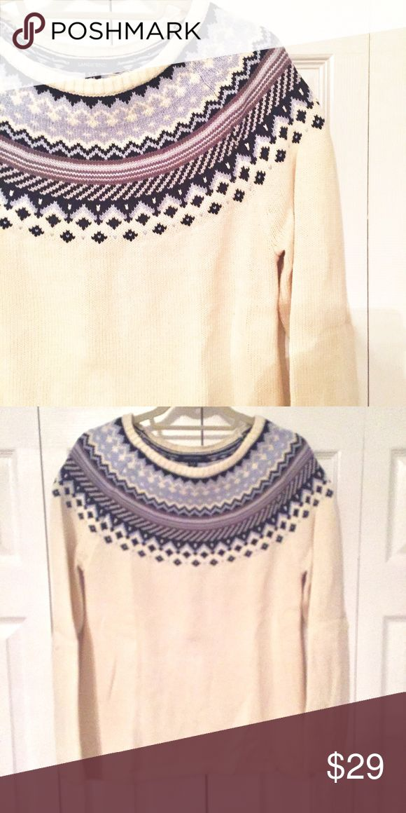 Fair Isle Cozy Sweater Boat neck ivory and blue/purple fair isle sweater. In great condition, only worn a handful of times. Size is a small tall but it's not super long really. Lands End small can easily fit a medium in my opinion. Only placed on hanger for photo - has been stored folded. Lands' End Sweaters Crew & Scoop Necks