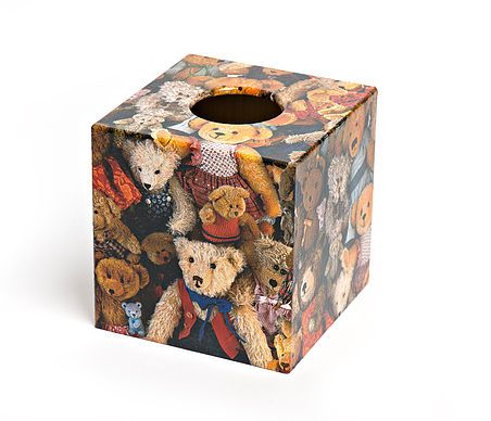 Snuggle up with a teddy in the cold weather with the Teddy Tissue Box from Crackpots Tissue boxes and Bins - lovingly hand decoupaged ♥