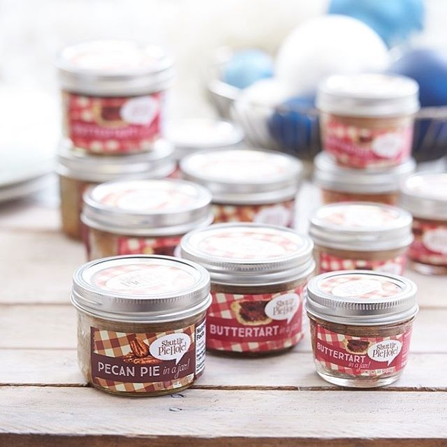 Are you looking for last minute #stockingstuffers? #teacher #gifts #giftbasket for your #boss or #coworkers? #buttertart and #pecan #pie in a jar is your answer. Pick it up at these locations @delucas @stnd @forkstradingcompany 0r stop by our store at 1079B Autumnwood Dr. We can be reached at 📩contact@shuturpiehole.ca or 431-998-2248