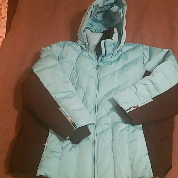 Plus size ski jacket - never been worn - Poly/spandex blend teal/black elastic cuff fur collar zip off hood zero x posure woman  Jackets & Coats Puffers