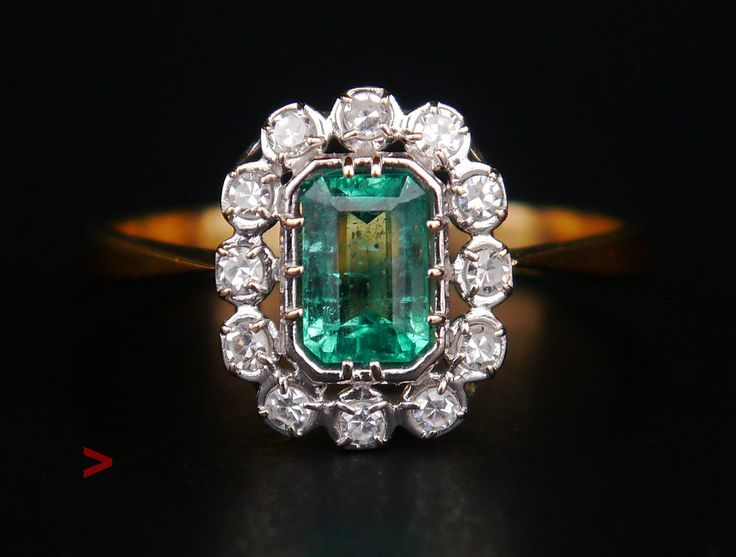 Antique European Ring solid 18K Gold 1 ct Emerald Diamonds Size US 6.5 US /2.1 #SolitairewithAccents