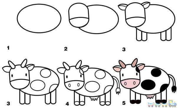 Drawing Simple Animal Milk Cow pics