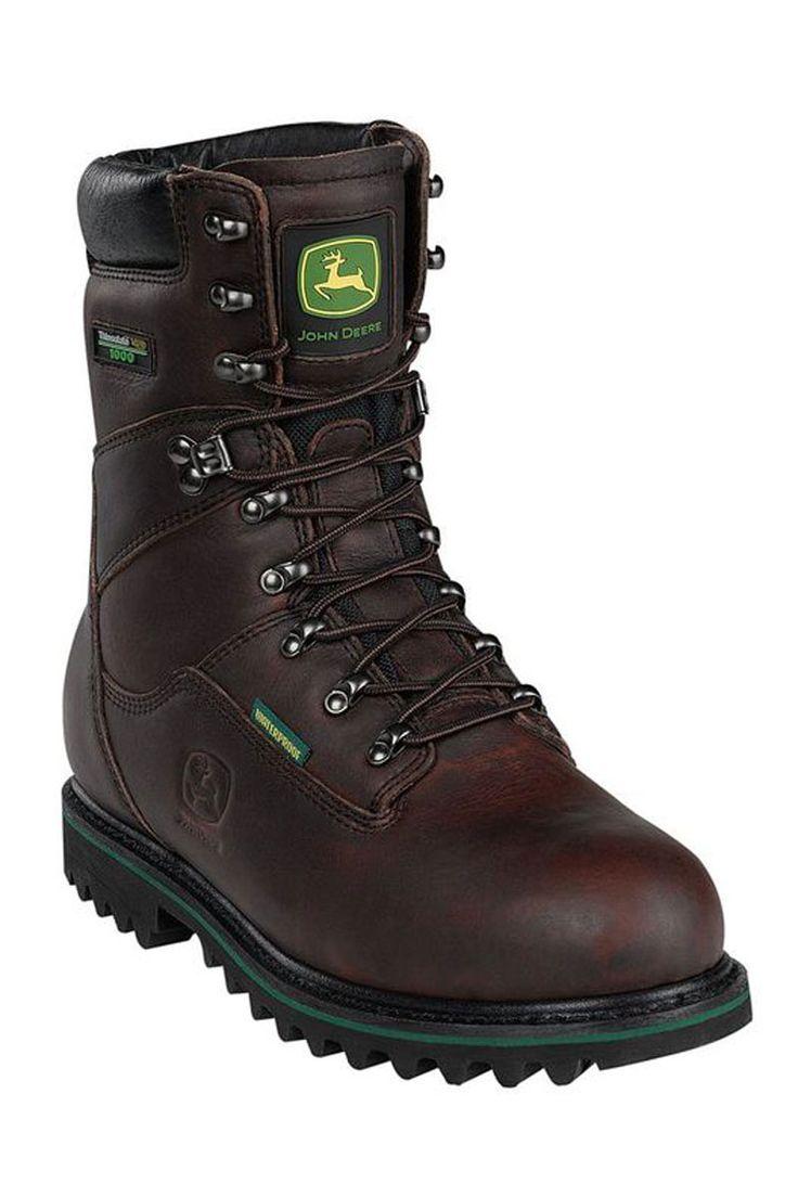 "John Deere Work Boots on Sale @ HeadWest - 8"" Steel Toe Dark Brown Metatarsal Guard Work Boots"