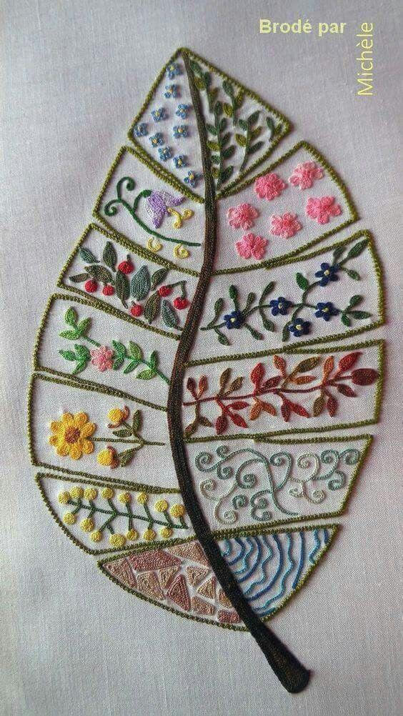 Folha com mais folhas e flores