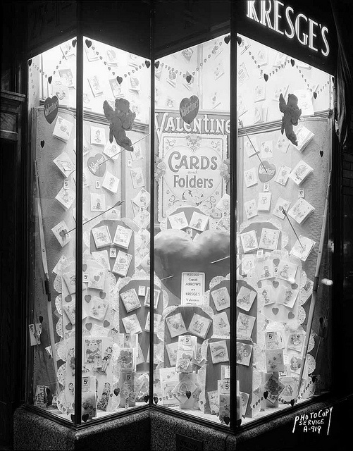 Kresge's $1.00 Store Valentine window, located at 13 South Pinckney Street, with a window display of Valentine cards and folders (January 1945)