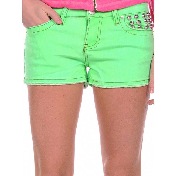 Vintage Havana Neon Stud Pocket Shorts (340163101) ($37) ❤ liked on Polyvore featuring shorts, neon green, neon green shorts, neon shorts, vintage havana shorts, vintage havana and cotton shorts