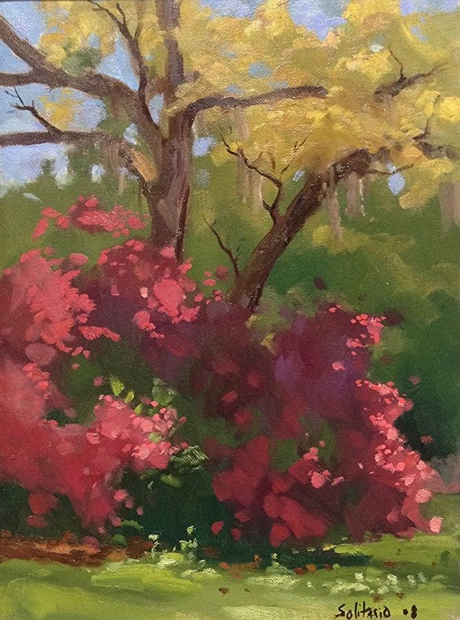 Azalea Bush By Billy Solitario Oil 16 X 12 Diy Art Painting Flower Painting Floral Painting