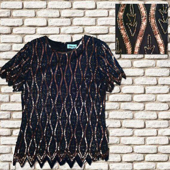 Black & Bronze Sequin Shift Top by BessieMidge on Etsy, £20.00