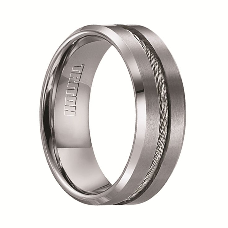 Triton Rings - CURTIS Tungsten Wedding Band with Steel Cable Inlay - 8 mm