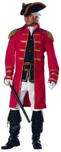 Details about ADULT MENS RED COAT PIRATE COLONIAL CAPTAIN PATRIOT