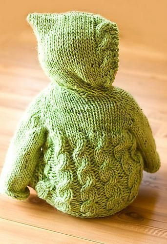 Cabled toddler hoodie knitting pattern