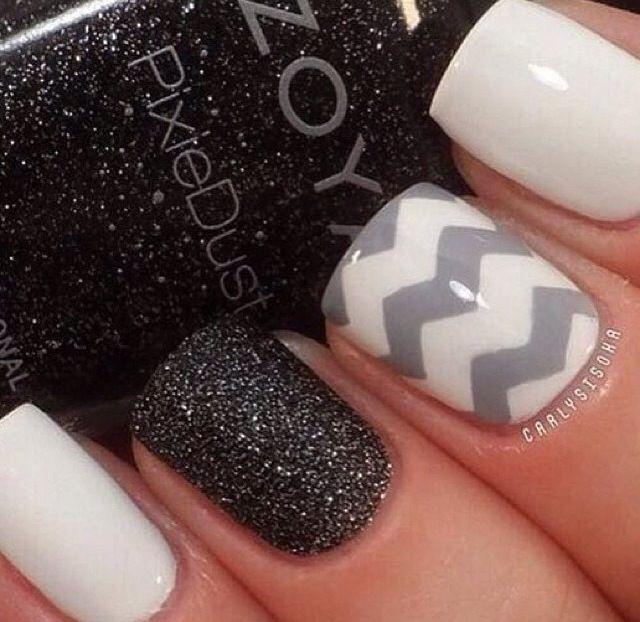 Nail design 2014, #blacknails #graynails #whiteblacknails