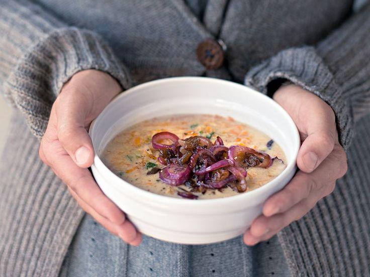 Rezept: Rote-Linsen-Suppe mit karamellisierten Zwiebeln