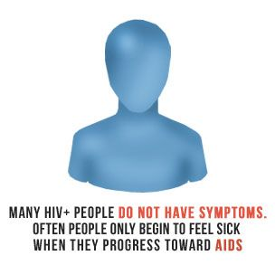 Many people who are HIV+ do not have symptoms. Often people only begin to feel sick when they progress toward AIDS