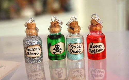 Unicorn Blood, Poison, Pixie Dust and Love Potion bottle charms