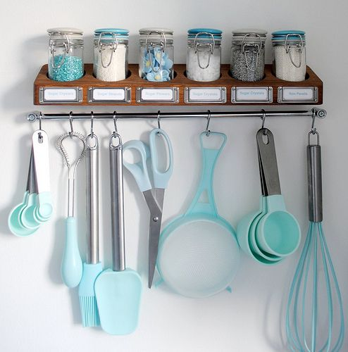 Baking supplies storage. love the colors and love how accessible everything is