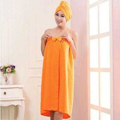 Women Microfiber Hair Turban Drying Wrap Hat Cap+Bath Towel Shower SPA Bath Robe