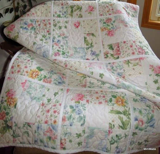 """""""Round and Round The Garden""""....a baby quilt made from a collection of vintage sheets:"""