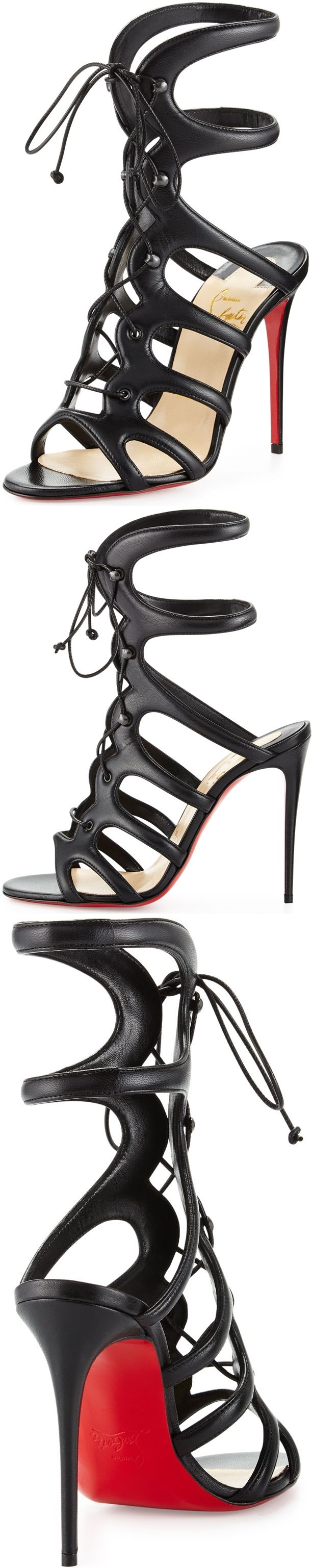 Christian Louboutin's standout 'Amazoula' sandals are crafted from smooth and supple black leather. Made in Italy, this pair has a flattering cage-like silhouette and an adjustable lace-up front.