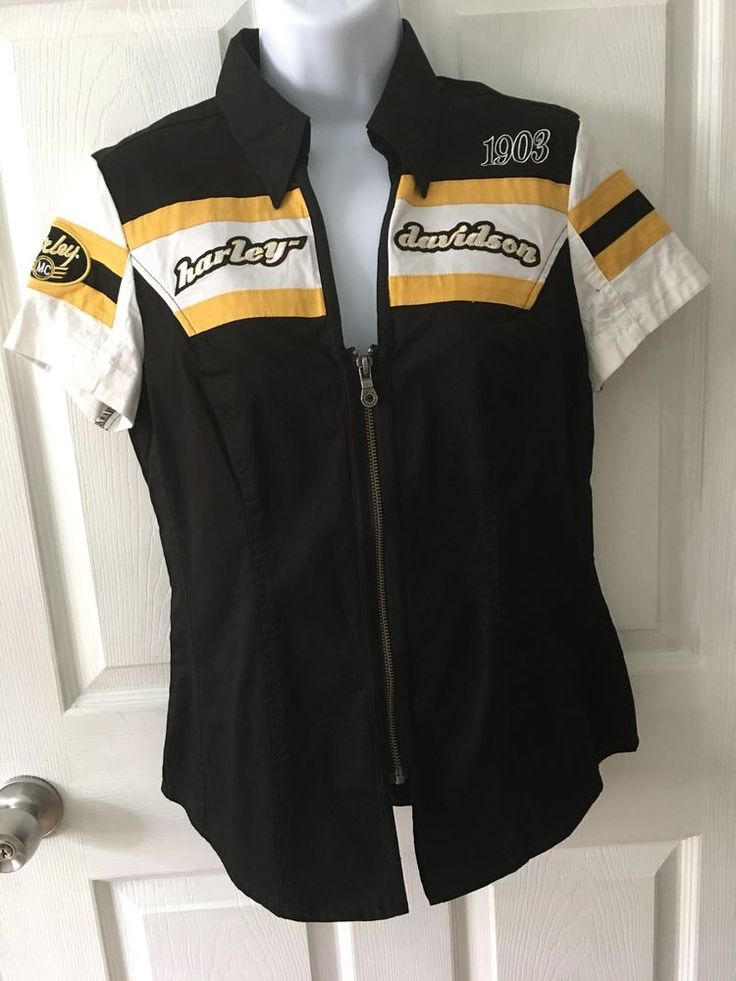 Harley Davidson Women's Zip Up Garage Shirt Blouse Black And Yellow Size S EUC  | eBay