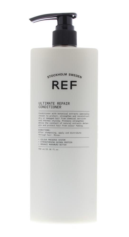 REF Care Ultimate Repair Conditioner Beschadigd Haar 750ml  Description: REF Ultimate Repair Conditioner.Deze conditioner is voorzien van plantaardige extracten als murumuruboter en quinoaproteïnen. Het haar wordt met de conditioner beschermd en krijgt zijn veerkracht terug. Droog en beschadigd haar wordt hersteld. De Quinoaproteïnen maken het haar zacht en glad. Gaat kleurvervaging tegen en minder klitten tijdens het kammen.Gebruik: Aanbrengen na het wassen en goed inmasseren. Korte laten…