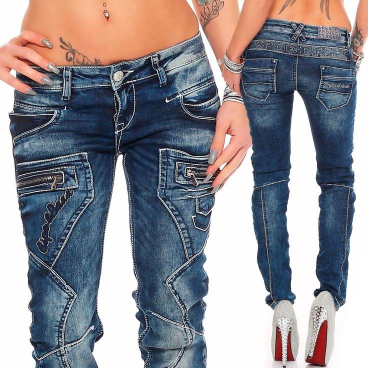 Cipo & Baxx Sexy Damen Jeans Hose Hüftjeans Skinny Slim Fit Stretch Röhre