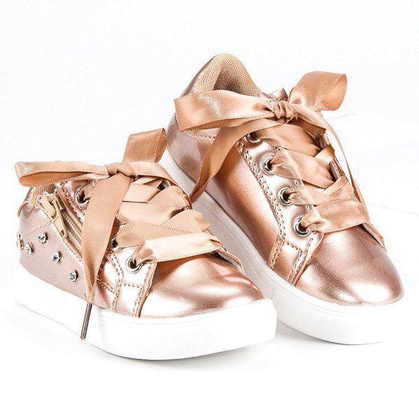 Buty Sportowe Dzieciece Dla Dzieci Butymodne Zolte Zlote Trampeczki Ze Wstazka Butymodne Golden Goose Sneaker Sneakers Shoes