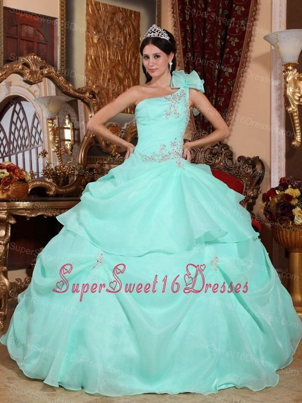 Fashionable Apple Green Sweet 16 Dress One Shoulder Organza Appliques Ball Gown