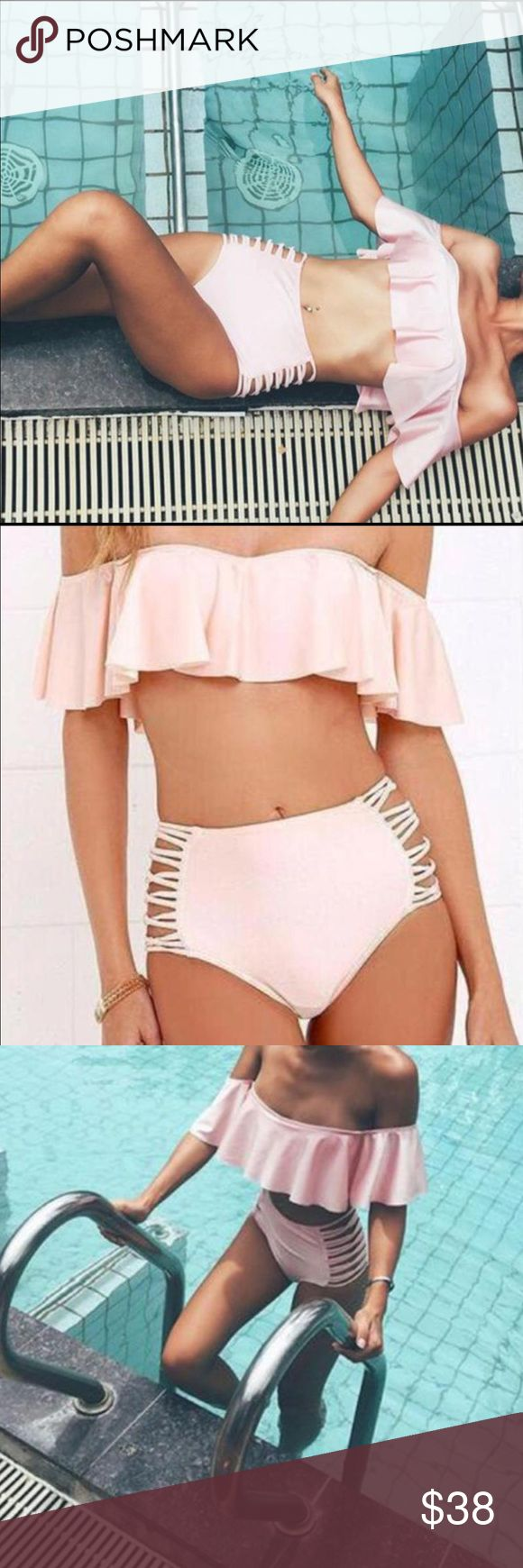 Sydney swimsuit I call her Sydney super cute and chic pastel pink bikini. Two piece high wasted with side cutouts. Ruffle off the shoulder top. Swim Bikinis