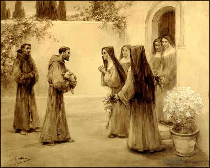 Monjes franciscanos y monjas clarisas. Encuentro de dos amigos...