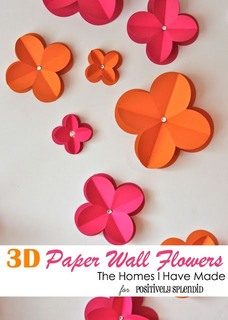 3D Paper Wall Flowers - What an easy way to add pizzazz to a blank wall!3D Paper, Blank Wall, Paper Flower, Girls Room, Home Decor, Wall Flower, Paper Wall, Flower Tutorial, Room Makeovers