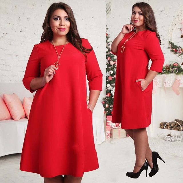 Big Size L-6XL Women Dress New Autumn Winter European Casual 3/4 Sleeve Knee-Length T shirt Dresses Vestidos with Pockets