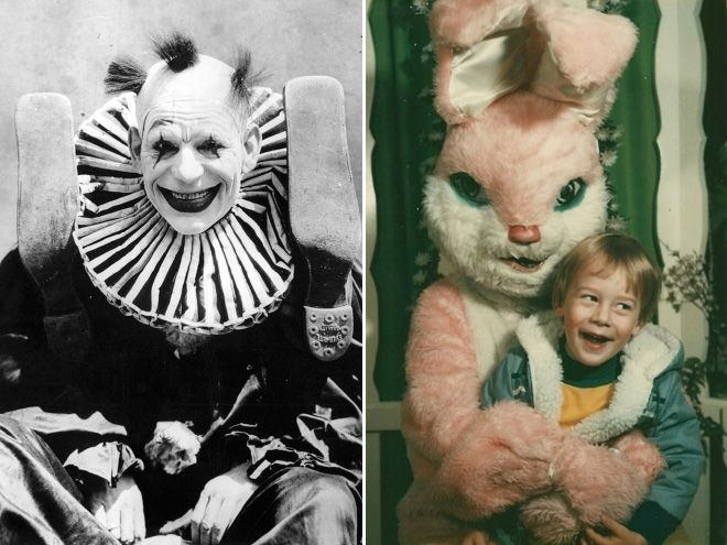 CREEPY OLDE PICTURES - SCARY CLOWN AND BIZARRE EASTER BUNNY!