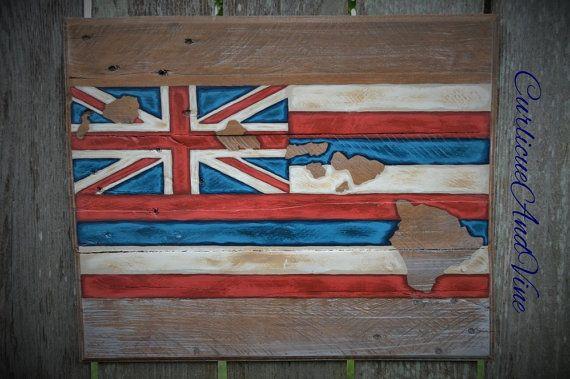 Hawaii State Flag Pallet Board Sign-Pallet by CurlicueAndVine