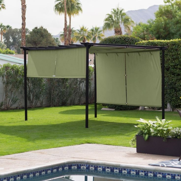 Pergola Canopy Gazebo Retractable Shade Pool Patio Deck Steel Cover  Waterproof