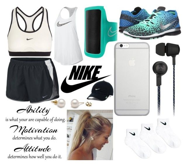"""""""Nike Exercise"""" by horseygirlhannah ❤ liked on Polyvore featuring NIKE, Original Penguin and Native Union"""