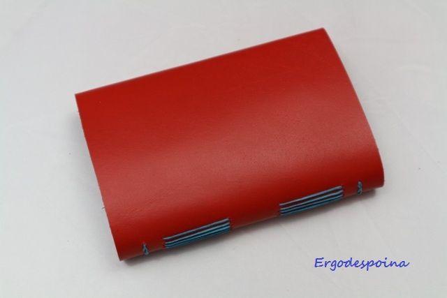Leather little notebook, long stich binding,with lines,handmade Μικρό σημειωματάριο με γραμμές,δερματόδετο δεμένο στο χέρο