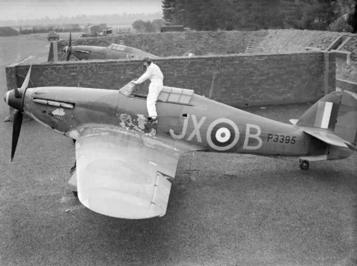 "Hawker Hurricane Mk.I, P3395, XJ-B of No. 1 Squadron, pilot P/O A.V. ""Taffy"" Clowes , RAF Wittering, Huntingdonshire, October 1940."