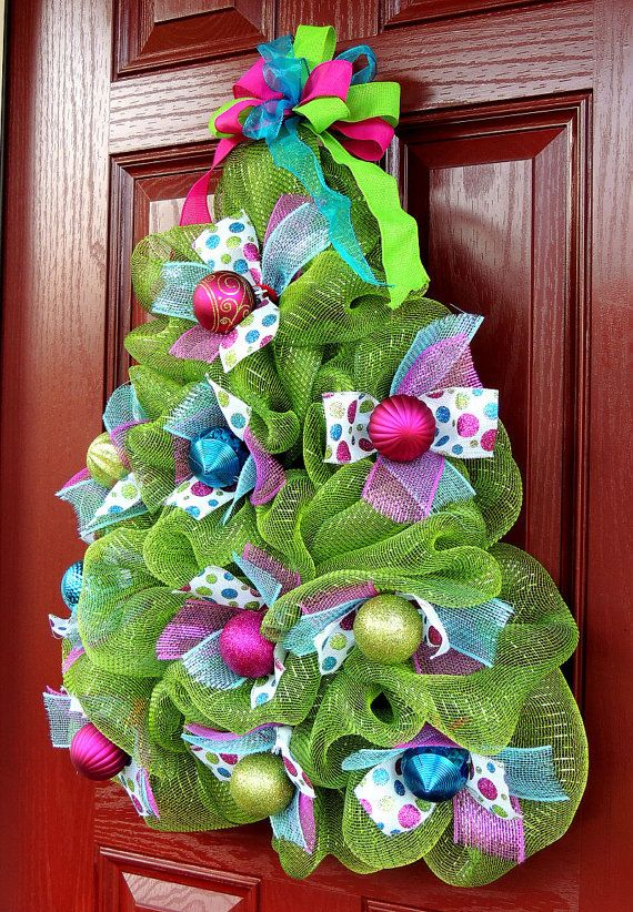 Whimsical Christmas Tree Wreath Deco Mesh Christmas Wreath