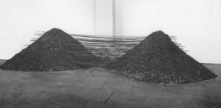 "berndwuersching: "" Reiner Ruthenbeck Doppel-Aschehaufen, 1968 Slag, steel wire, ca. 2 x 4 m Private collection, Netherlands """