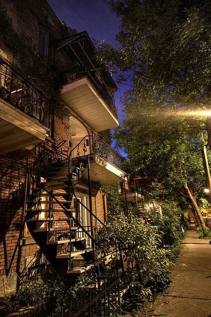 Gorgeous wrought iron stairs in Montreal's Plateau Mont-Royal Neighbourhood (5210 rue cartier)