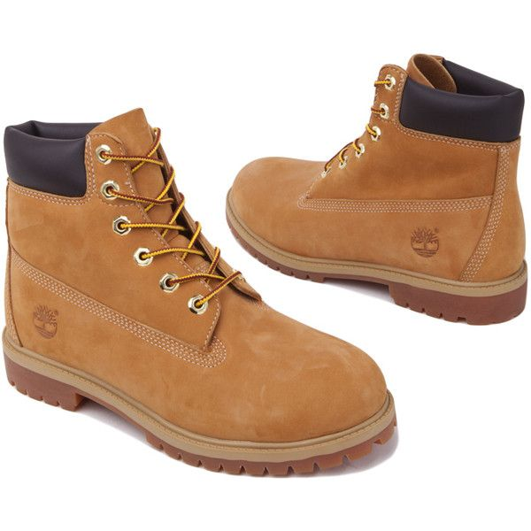 Timberland Premium 6 Inch Waterproof Boots - Wheat ($130) ❤ liked on Polyvore featuring shoes, boots, timberland, ankle boots, wheat nubuck, short heel boots, water proof shoes, bootie shoes and waterproof shoes
